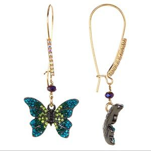 Betsey Johnson Pave Blue Crystal Butterfly Earring